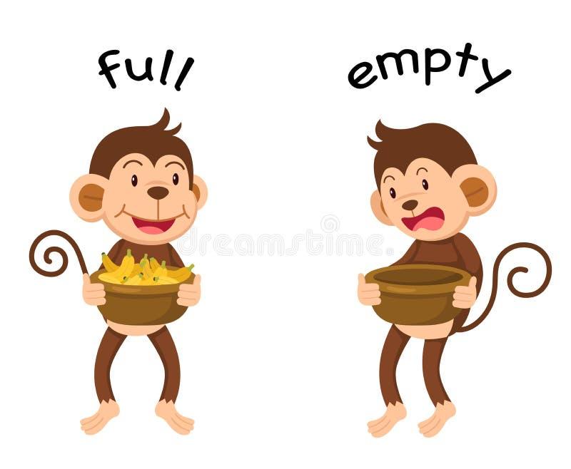 Tomma motsatta ord som är fulla och royaltyfri illustrationer