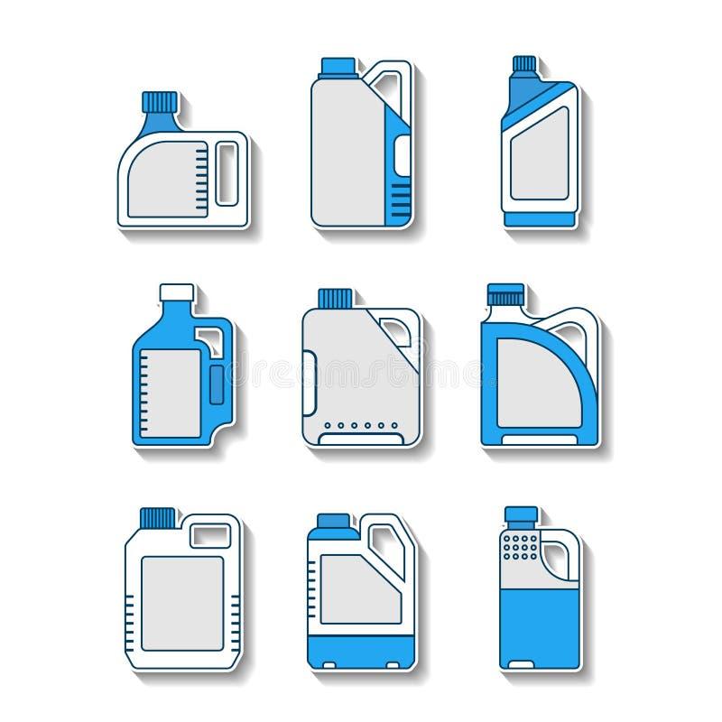 Tomma plast- kanistrar, plana symboler Förpacka för olja, vatten, flytande vektor illustrationer