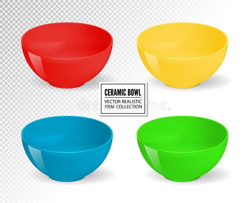 Tomma realistiska vektormatskålar Keramisk kökdishwareuppsättning Bowla för mat, tom samling för keramisk dishware vektor illustrationer