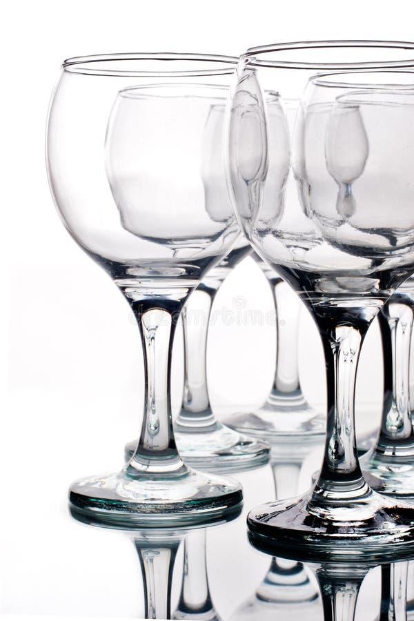 tomma reflexionswineglasses royaltyfri foto