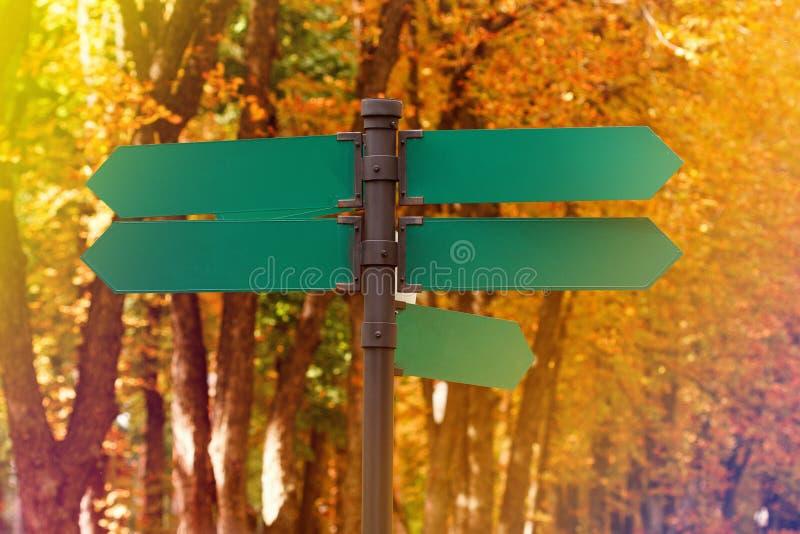 Tomma riktningsvägmärken mot höstlövverk Gröna metallpilar på vägvisaren arkivbilder