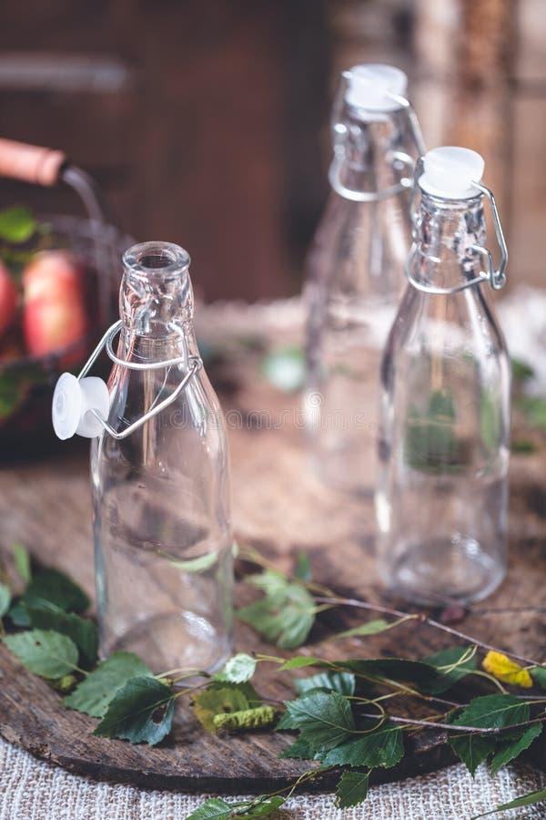Tomma Smoothieflaskor arkivfoton