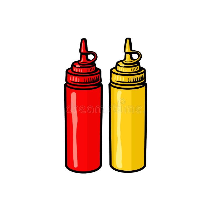Tomma snabbmatflaskor av ketchup och senap royaltyfri illustrationer