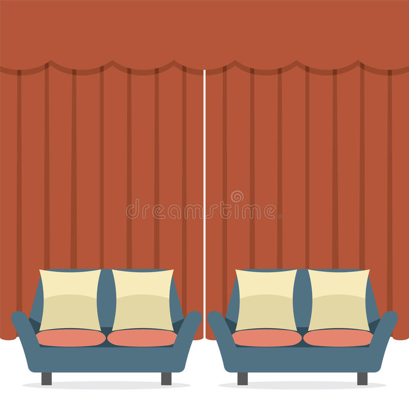 Tomma soffor i Front Of Curtain royaltyfri illustrationer