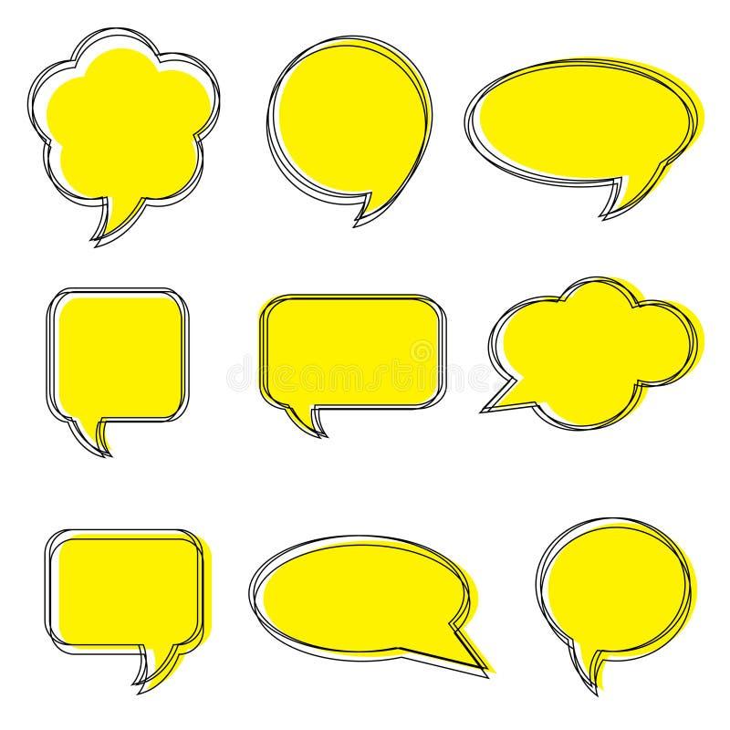 Tomma tomma vita anförandebubblor Klistermärkear av anförande bubblar vektoruppsättningen stock illustrationer