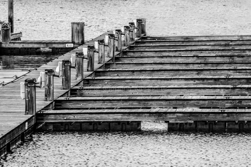 Tomma träskeppsdockor som väntar på fartyg i svartvitt royaltyfri bild