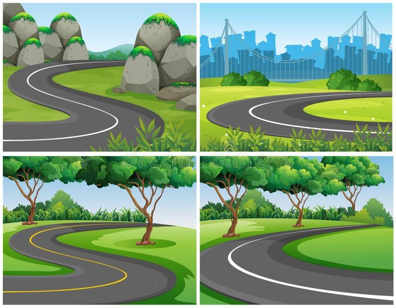 Tomma vägar parkerar igenom och staden stock illustrationer