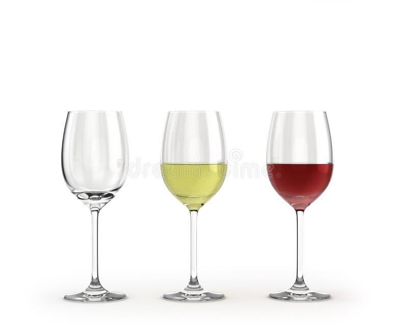 Tomma vinexponeringsglas med rött och vitt vin som isoleras på vit royaltyfri illustrationer