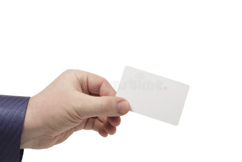 Tomma vita affärskort i en mans hand royaltyfri foto