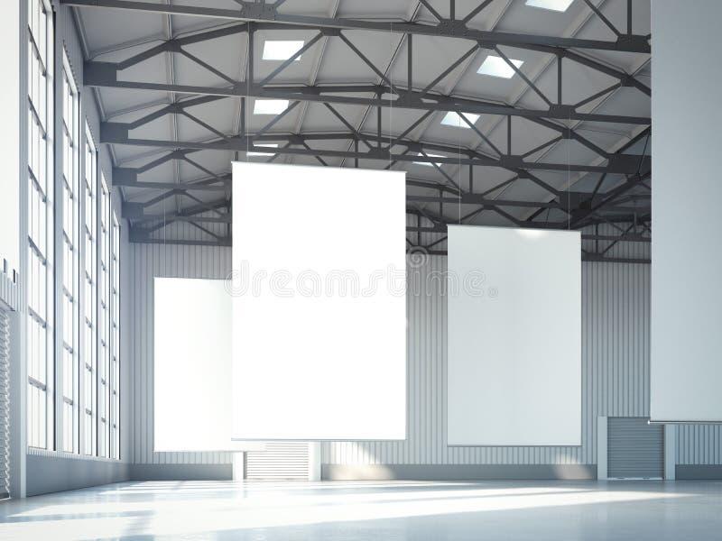 Download Tomma Vita Baner I Hangar Framförande 3d Arkivfoto - Bild av korridor, inre: 76703958