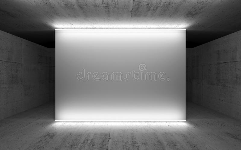 Tomma vita baner- och neonljus stock illustrationer