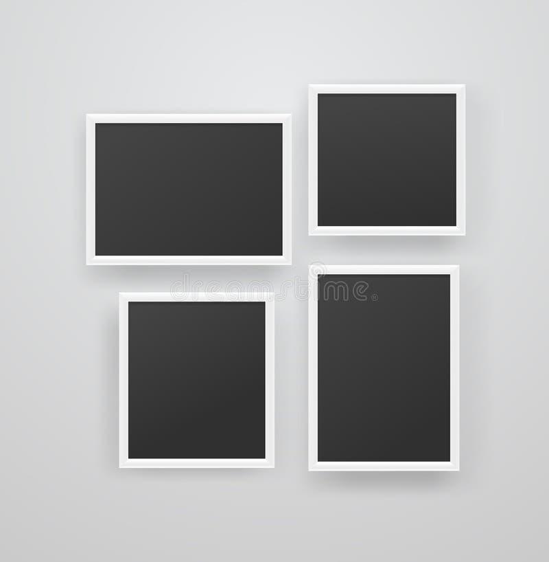 Tomma vita photoframes med svart tom bakgrund p? en v?gg vektor illustrationer