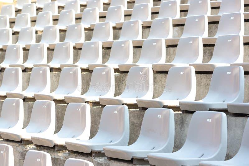 Tomma vita stadionställningsrader med solljus fotografering för bildbyråer