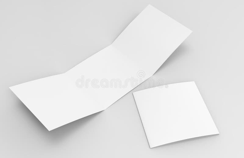 Tomma vita tömmer den fyrkantiga trifold katalogbroschyrreklambladet, med den snabba banan, bakgrund som kan ändras för åtlöje up stock illustrationer