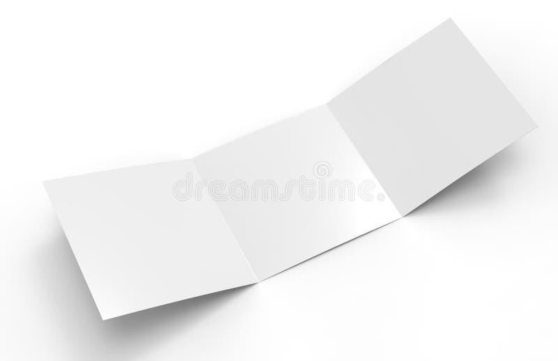 Tomma vita tömmer den fyrkantiga trifold katalogbroschyrreklambladet, med den snabba banan, bakgrund som kan ändras för åtlöje up royaltyfri illustrationer
