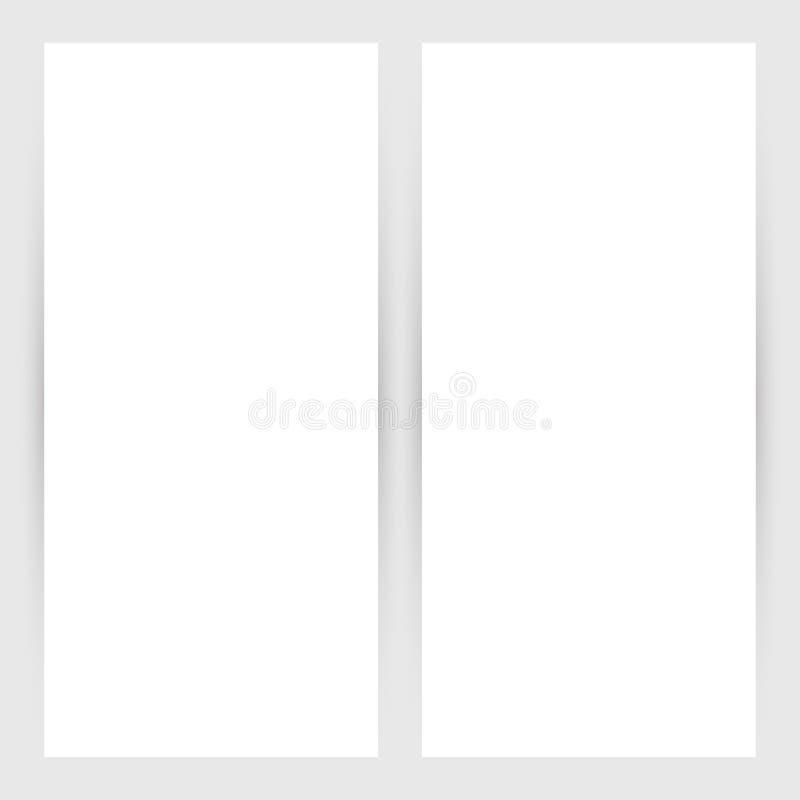 Tomma vitbokbanerark med skuggaeffekter Vektormallar för presentation, affärsdesign och detaljhandel stock illustrationer