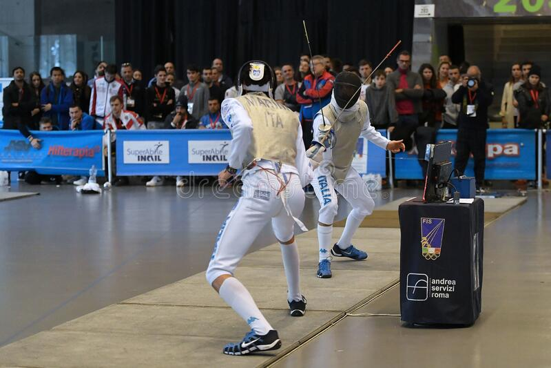 Sword FIE Fencing Grand Prix 2029 - Men royalty free stock photos