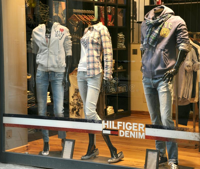 Tommy Hilfiger luxury fashion shop stock photos