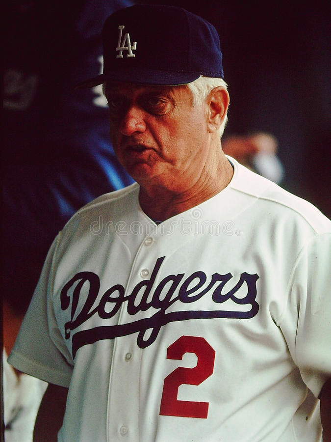 Tommy Lasorda, Los Angeles Dodgers royalty-vrije stock afbeeldingen
