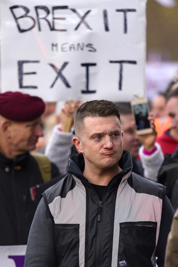 Tommy Robinson στη διαδήλωση διαμαρτυρίας προδοσίας Brexit στοκ φωτογραφία με δικαίωμα ελεύθερης χρήσης
