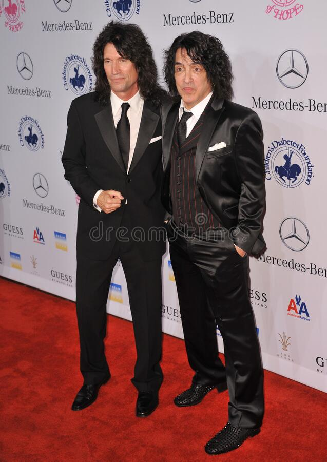 Tommy Thayer & Paul Stanley. LOS ANGELES, CA - October 20, 2012: KISS stars Tommy Thayer (left) & Paul Stanley at the 26th Carousel of Hope Gala at the Beverly stock photography