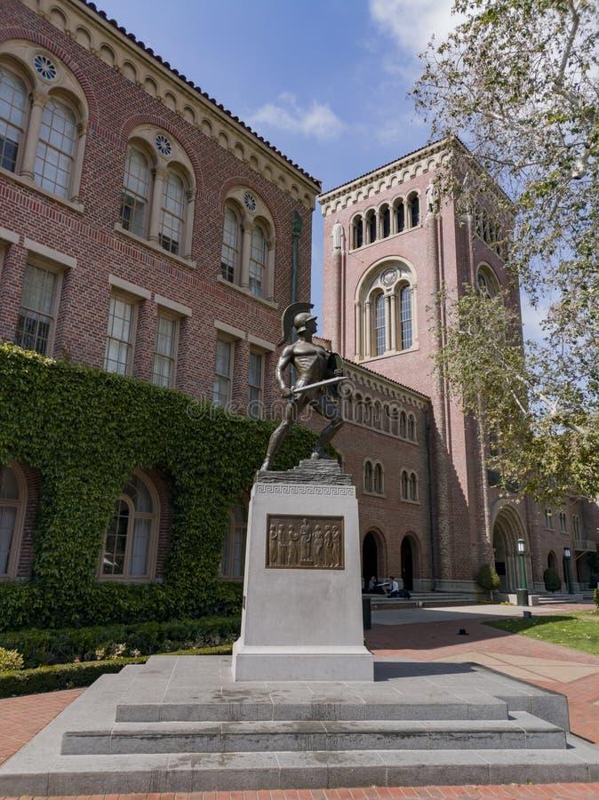 Tommy Trojan, auditorio de Bovard de USC fotografía de archivo