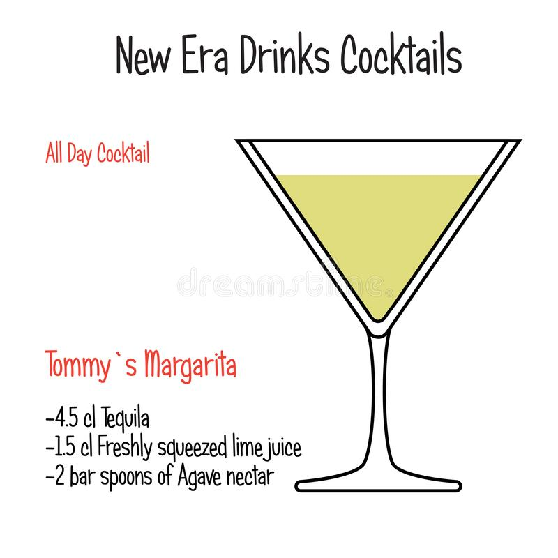 Tommys Margarita alkoholicznego koktajlu wektorowy ilustracyjny przepis odizolowywający royalty ilustracja