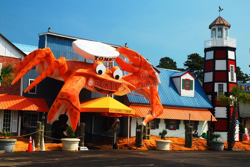 Tommys, Myrtle Beach, SC. Tommys, a cafe in Myrtle Beach, SC, has a large crab to lure in customers stock photo