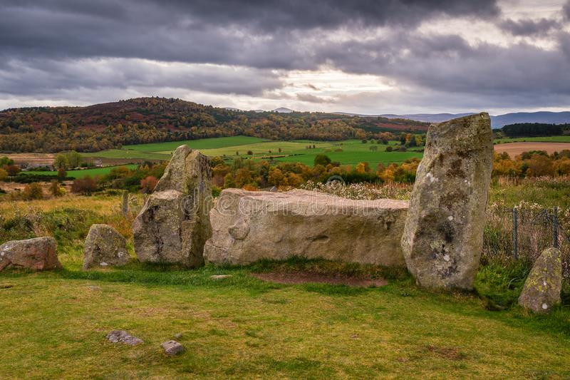 Tomnaverie Recumbent and Flankers. Tomnaverie is a Recumbent Stone Circle, a monument found only in the North East of Scotland stock image