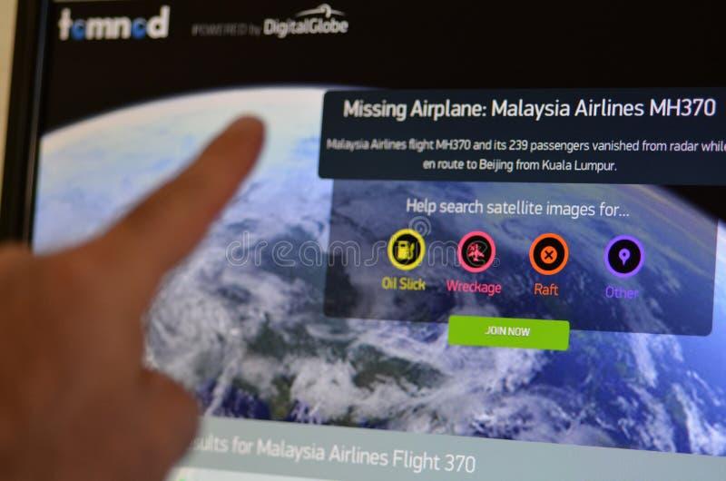 Tomnod - vol 370 de Malaysia Airlines image libre de droits