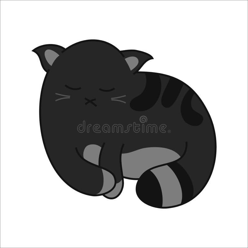 Tomo-Katze - nette schwarze Version der Charakterhaltung 02 vektor abbildung