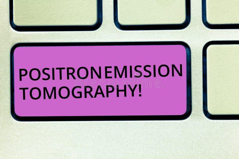 Tomography för utsläpp för handskrifttextPositron Tangentbord för avbilda teknik för kärn- medicin för begreppsbetydelse funktion royaltyfria bilder