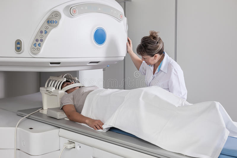 Tomography. The patient goes tomography of the head royalty free stock photography