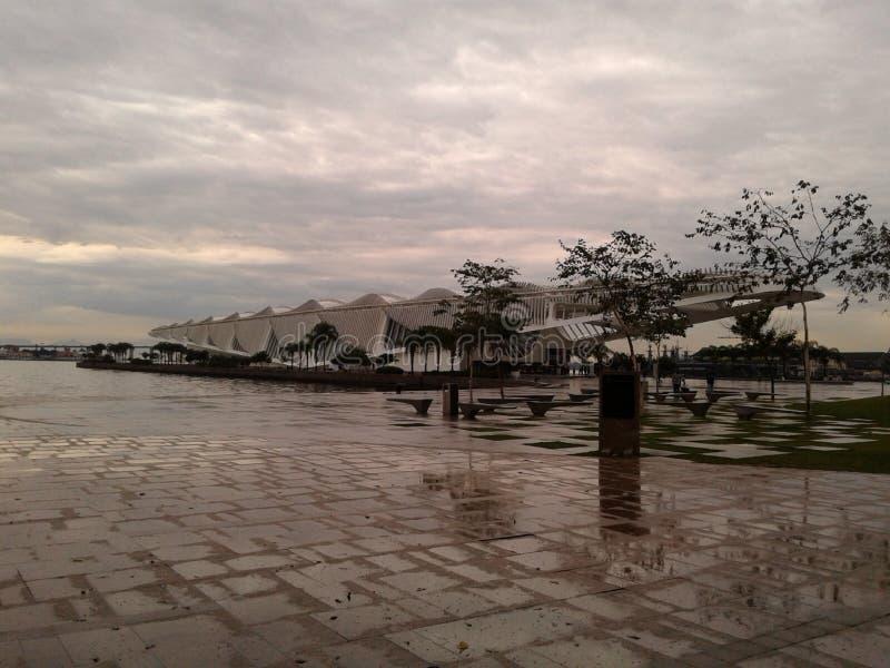 Tomorrow museum in Maua square Rio de Janeiro Downtown Brazil. Tomorrow museum in Maua square Rio de Janeiro Downtown. Wet floor, museum, square, cloudy sky stock photos
