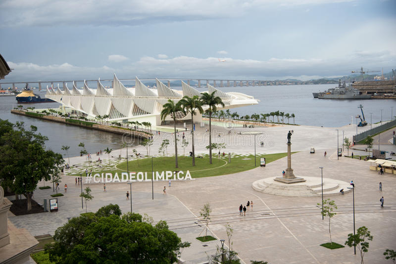 Tomorrow Museum. Rio de Janeiro, Brasil - March 17, 2016: View of Museum of tomorrow which is in Maua square, center of the city. The architectural design is the stock images