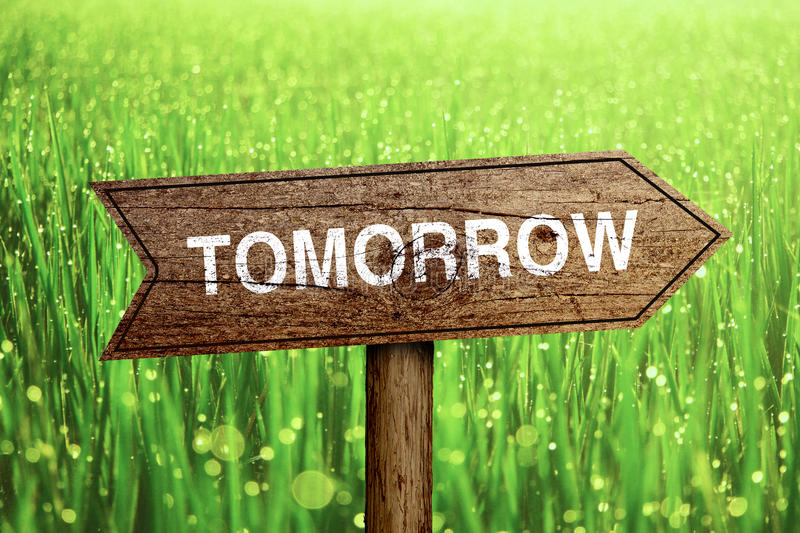 Tomorrow roadsign. Tomorrow wooden roadsign with beautiful natural background stock images