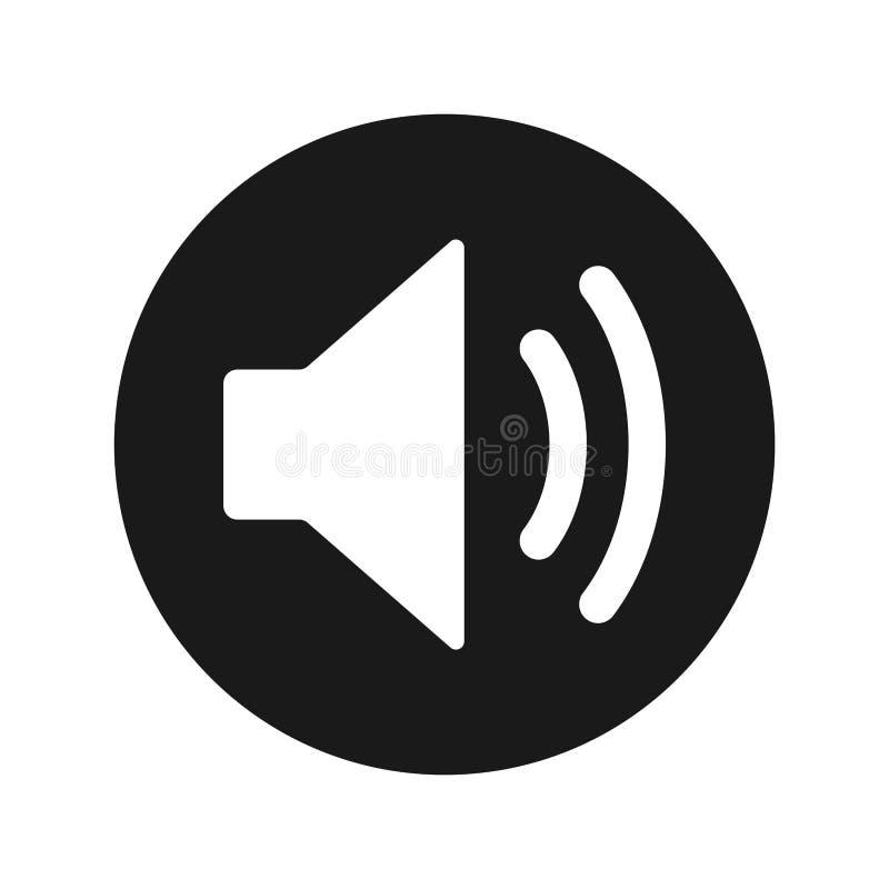 Tomowa głośnikowa ikony płaskiego czerni round guzika wektoru ilustracja royalty ilustracja
