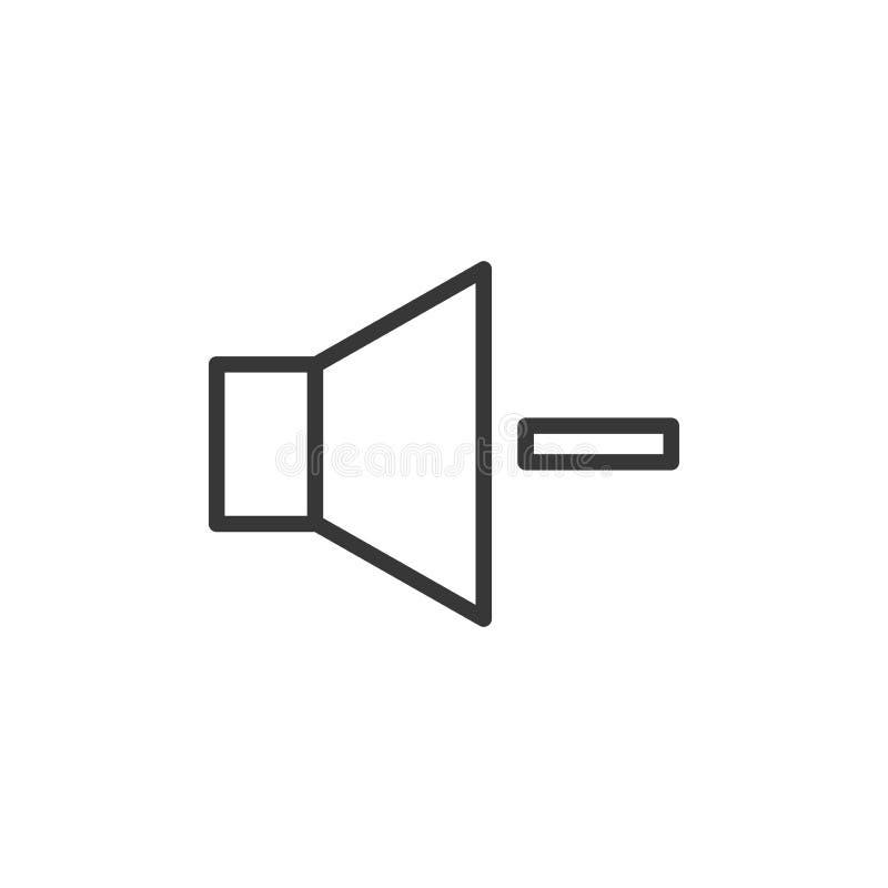 Tomowego zmniejszania ikona Wektoru cienki kreskowy mówca z a minus znak royalty ilustracja