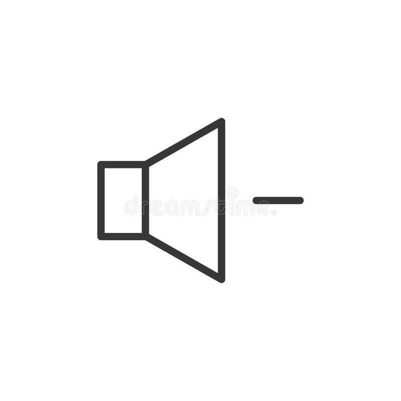 Tomowego zmniejszania ikona Wektoru cienki kreskowy mówca z a minus znak ilustracja wektor