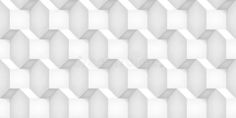 Tomowi realistyczni wektorowi sześciany tekstura, lekki geometryczny bezszwowy wzór, projektują białego tło dla was projekty royalty ilustracja