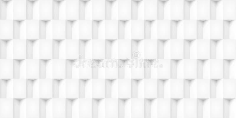 Tomowi realistyczni wektorowi sześciany tekstura, lekkie geometryczne bezszwowe płytki deseniują, projektują, białego tło dla was ilustracji