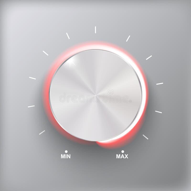 Tomowy guzik, dźwięk kontrola, muzyczna gałeczka z metal teksturą i liczby skala odizolowywająca na szarym tle, ilustracja wektor