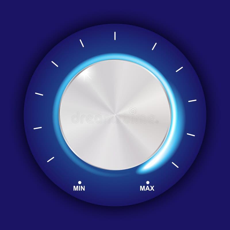 Tomowy guzik, dźwięk kontrola, muzyczna gałeczka z metal teksturą i liczby skala odizolowywająca na tle, ilustracji