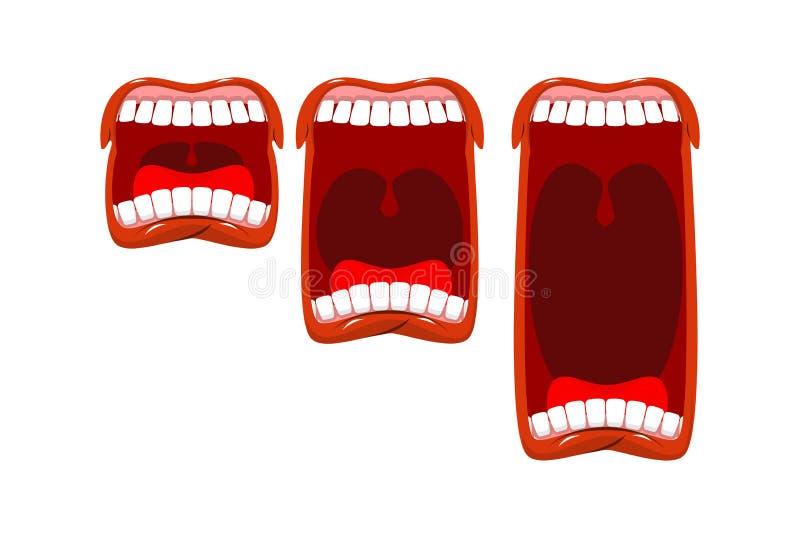 Tomowy płacz wrzeszczy poziom Scena wrzask Otwiera usta z jęzorem i ilustracja wektor