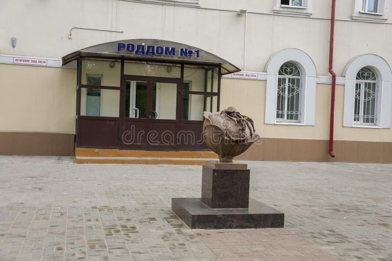 Tomsk, Russland, am 10. Juli 2017 Gehen auf die Stadtstraßen im Sommer Das Monument Baby im Kohl Neugeboren lizenzfreies stockfoto
