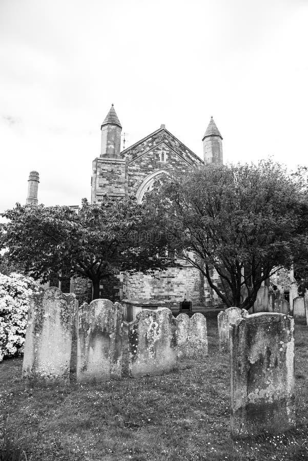 Tomstones en Rye - blanco y negro imágenes de archivo libres de regalías
