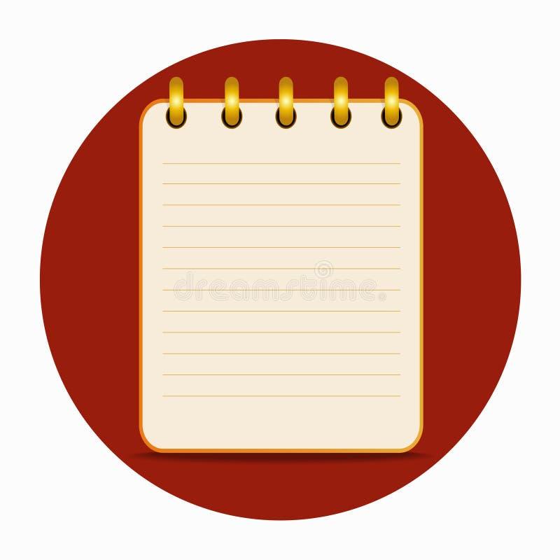 Tomt ark av anteckningsbokgulingfärg stock illustrationer