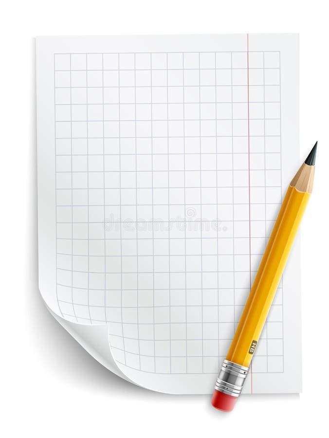 Tomt ark av papper med raster och blyertspennan vektor illustrationer
