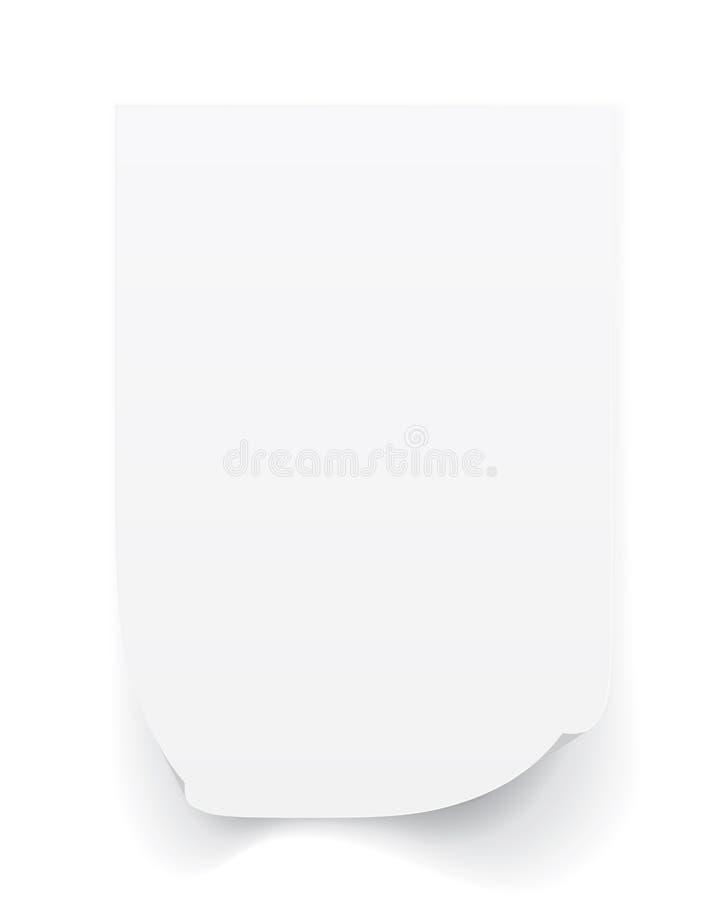Tomt ark A4 av vitbok med det krullade h?rnet och skugga, mall f?r din design Upps?ttning ocks? vektor f?r coreldrawillustration stock illustrationer