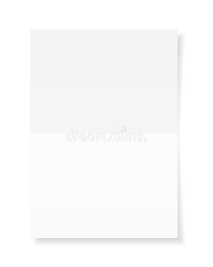 Tomt ark A4 av vitbok med skugga, mall f?r din design Upps?ttning ocks? vektor f?r coreldrawillustration vektor illustrationer